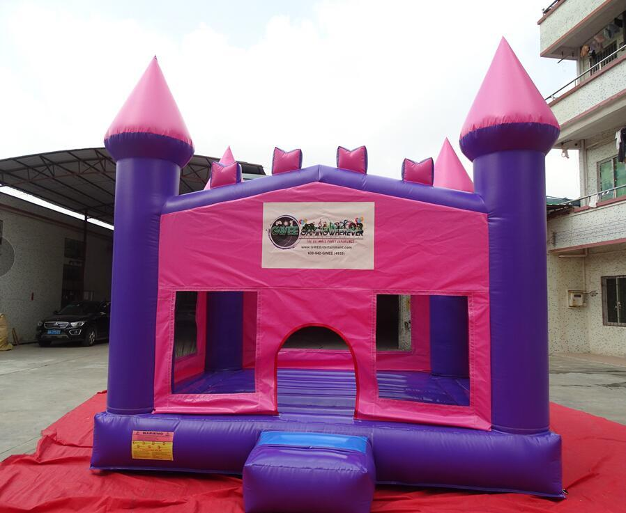 Princess castle inflatable bounce house jumper rental by Gaming Wherever Entertainment in Chicago